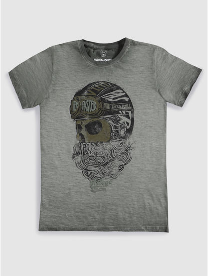 Junior Grey Faded Graphic Print Crew Neck T-shirt