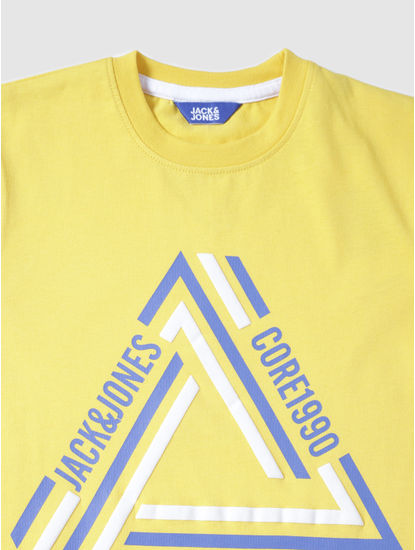 Junior Yellow Text Print Crew Neck T-Shirt