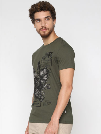 Green Graphic Print Crew Neck T-shirt