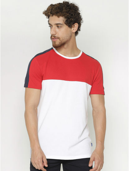 White Colour Blocked Crew Neck T-Shirt