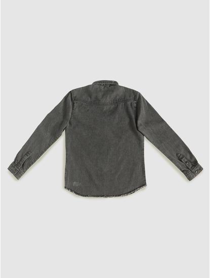 Junior Black Faded Full Sleeves Shirt