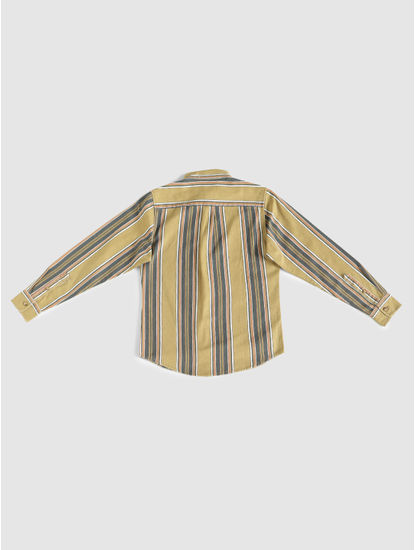 Junior Yellow Striped Full Sleeves Shirt