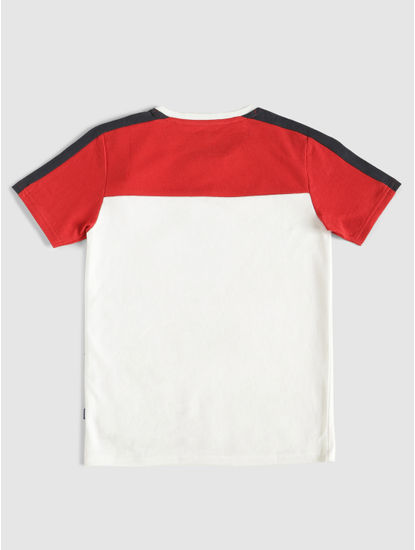 Junior White Colour Blocked Crew Neck T-Shirt