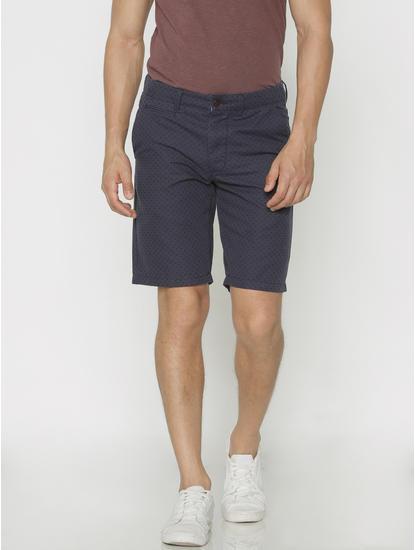 Blue Printed Chino Shorts