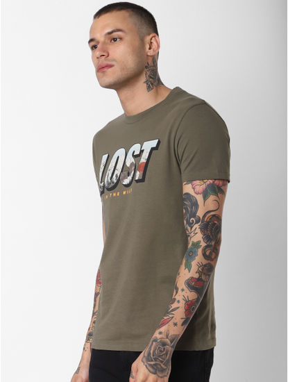 Green Lost Text Print Crew Neck T-Shirt