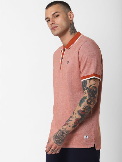 Brown Contrast Tipping Polo Neck T-Shirt