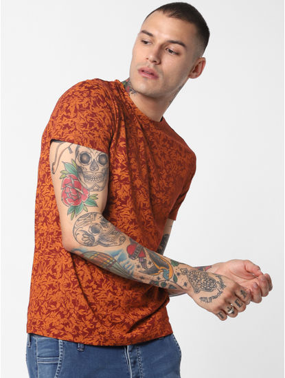 Brown All Over Print Crew Neck T-Shirt