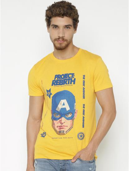 X Avengers Yellow Captain America Print Crew Neck T-shirt