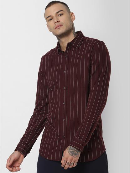 Burgundy Striped Full Sleeves Shirt