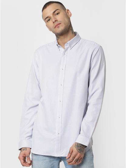 White Striped Full Sleeves Shirt