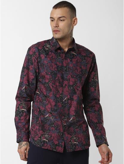 Burgundy Floral Print Full Sleeves Shirt
