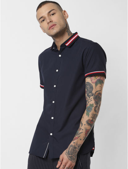 Blue Contrast Tipping Short Sleeves Shirt