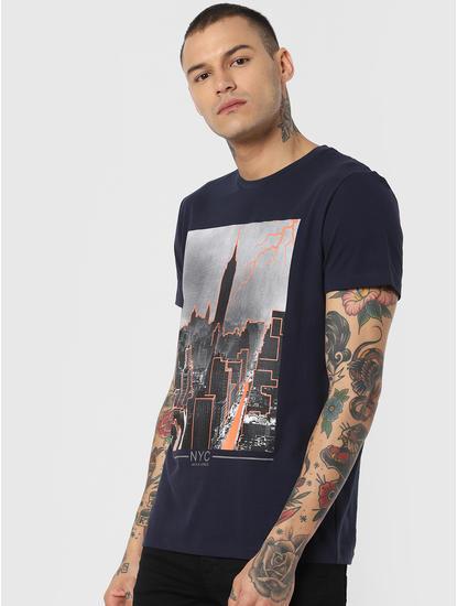 Blue Ny City Graphic Crew Neck T-Shirt