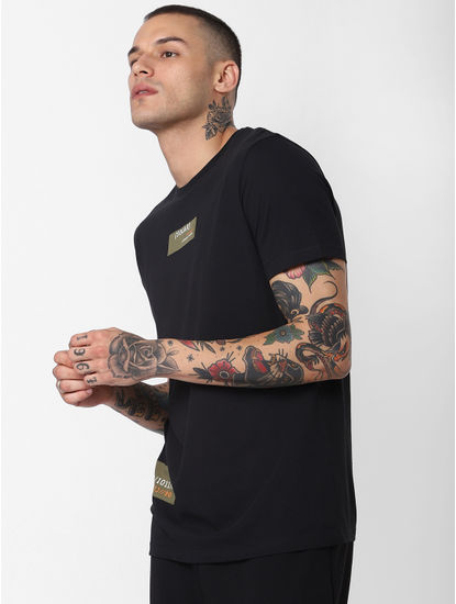 Black Patch Print Crew Neck T-Shirt