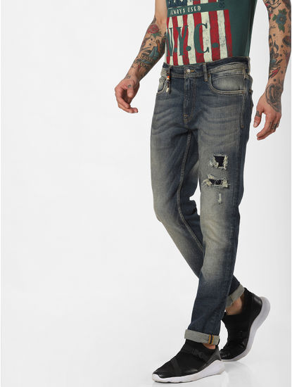 Blue Low Rise Washed Ripped Skinny Jeans