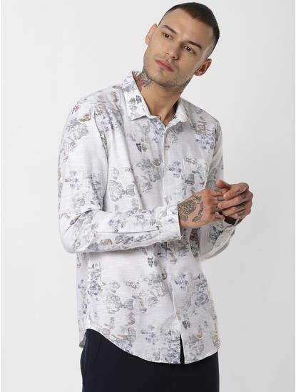 White Floral Print Full Sleeves Shirt