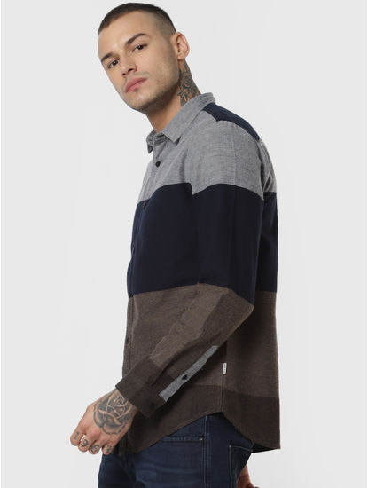 Brown Colourblocked Full Sleeves Shirt