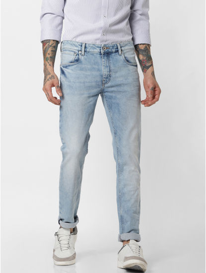 Blue Low Rise Washed Ben Skinny Fit Jeans