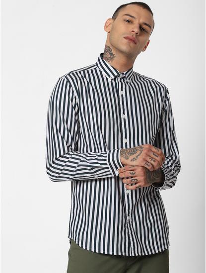 Dark Green Striped Full Sleeves Shirt