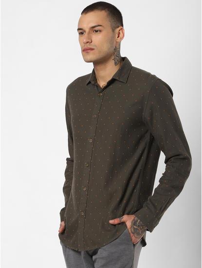 Dark Green Printed Full Sleeves Shirt