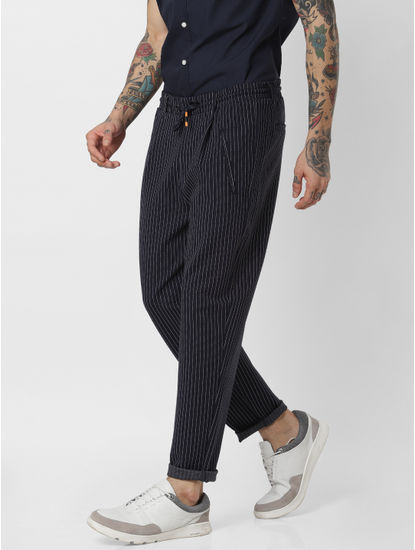 Navy Blue Striped Drawstring Pants