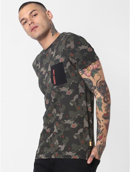Dark Green Camo Print Crew Neck T-Shirt