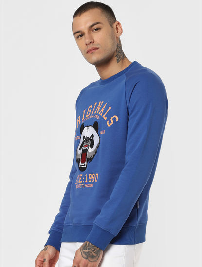 Blue Graphic Print Sweatshirt