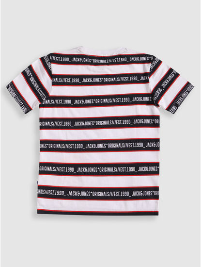Junior White Striped Crew Neck T-Shirt