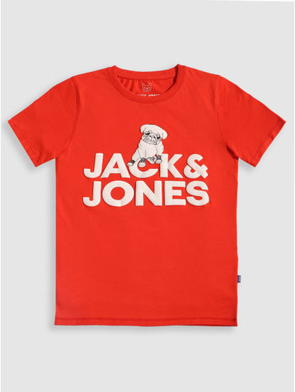 Junior Red Pug Print Crew Neck T-shirt