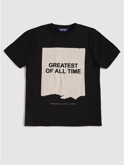 Junior Black Graphic Print Crew Neck T-Shirt