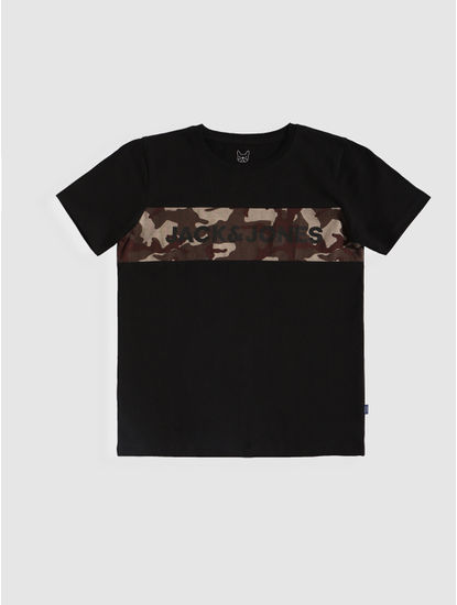 Junior Black Camo Patch Crew Neck T-shirt