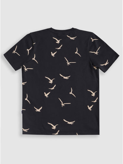 Junior Navy Blue Bird Print Crew Neck T-Shirt