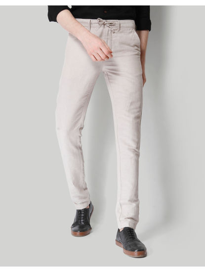 Beige Drawstring Linen Pants