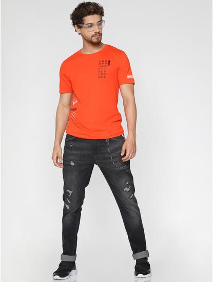 Orange Printed Crew Neck T-Shirt
