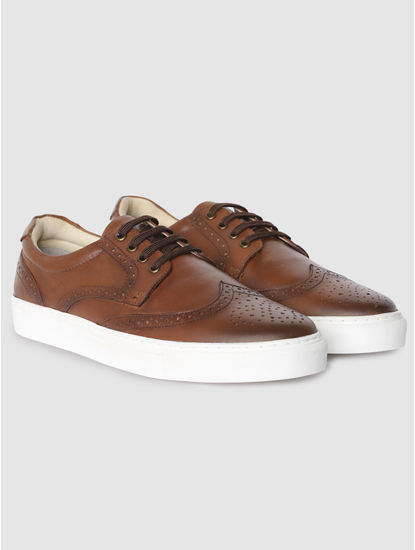 Brown Perforated Brouge Sneakers