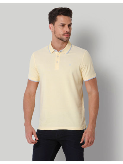 Yellow Contrast Tipping Polo Neck T-shirt