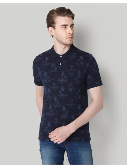 Navy Blue All Over Print Polo Neck T-shirt