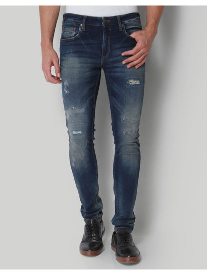 Blue Low Rise Distressed Liam Slim Fit Jeans