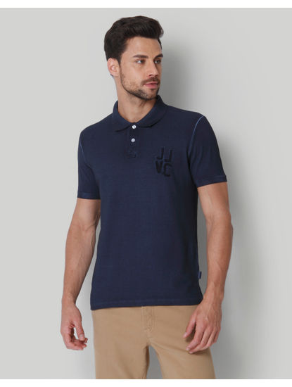 Blue Washed Polo Neck T-Shirt