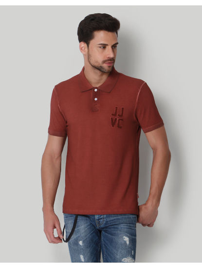 Red Washed Polo Neck T-shirt