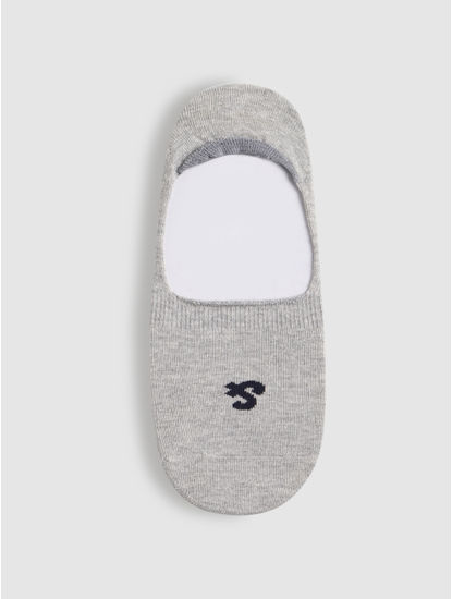 Light Grey Logo Print No Show Socks