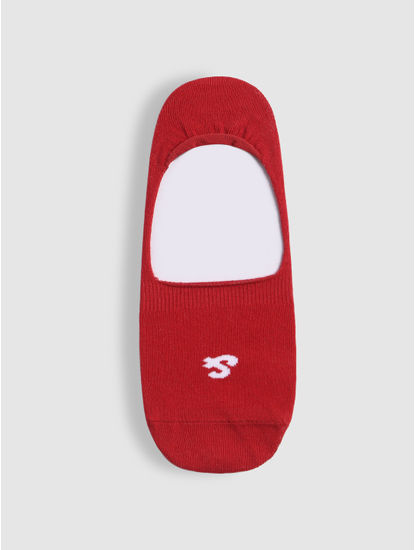 Red Logo Print No Show Socks