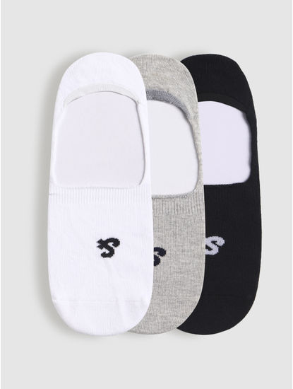 Pack of Three No Show Socks - White, Grey, Black