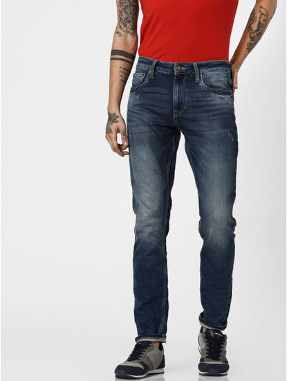 Jack & Jones Blue Low Rise Indigo Knit Ben Skinny Jeans