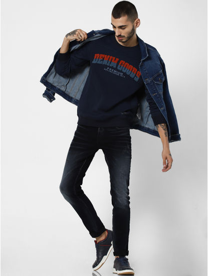 Navy Blue Embroidered Print Sweatshirt