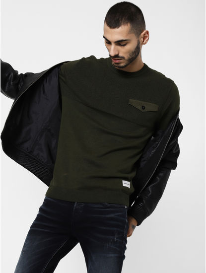 Green Pocket Flap Detail Pullover