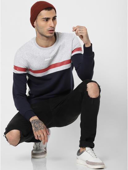 Light Grey Colourblocked Sweatshirt