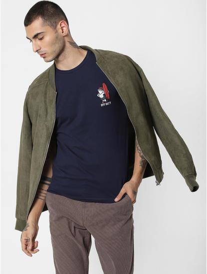 Navy Blue Off Duty Print Crew Neck T-Shirt