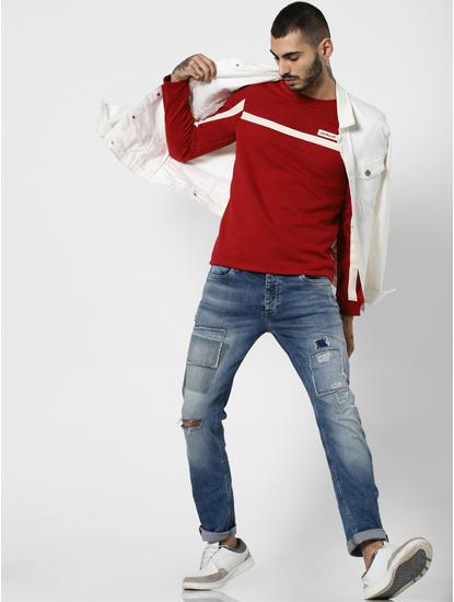Red Contrast Tape Detail Sweatshirt