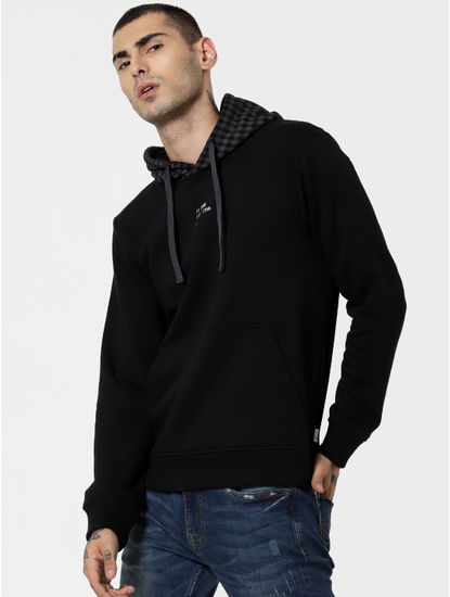 Black Check Hooded Sweatshirt